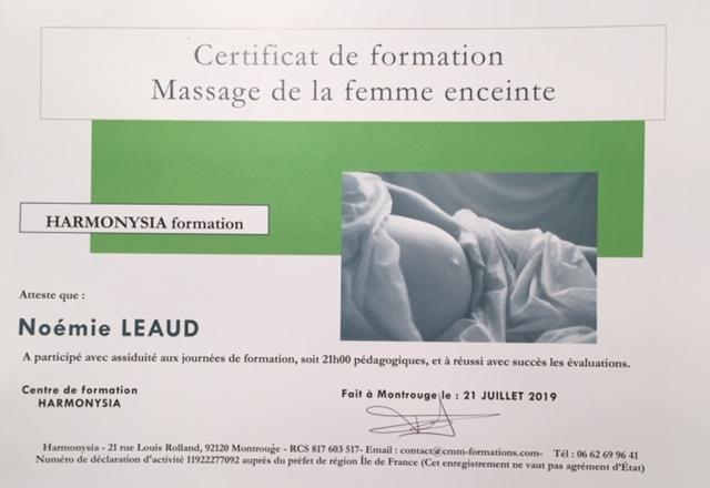 certificat formation massage femme enceinte